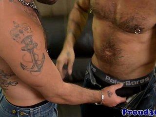Tattooed hairy hunks with piercings fucking