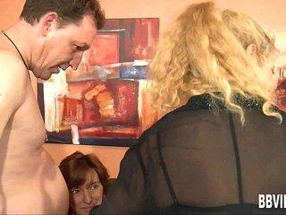 Bi german milfs share cocks in foursome