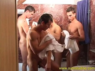 Four buddies are trying out a suite