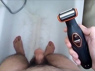 shaving my big thick sexy hot hairy cock and balls in the bathroom