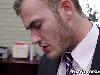 Colby Keller in the office sucking boss