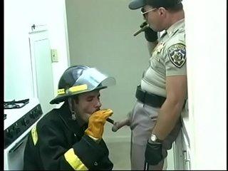 Gay fireman sucks cock of police officer then he returns the favor