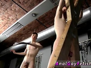 Sexy men Victim Aaron gets a whipping, then gets his slot properly