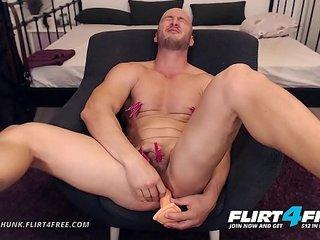 Adonis Hunk - Flirt4Free - Muscle Stud Bondage Torture Before Hot Cum Shot