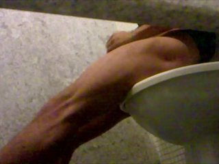 Hot guy caught jerking in airport toilet