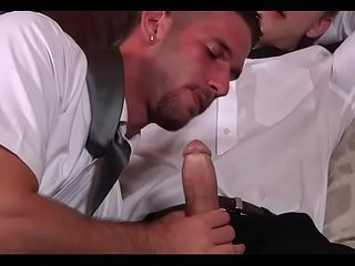 Gay paramours sharing the couch for oral-service and anal sex