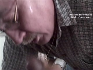 Cum Swallowing Silverdaddy Grandpa Gumjob on big latino cock