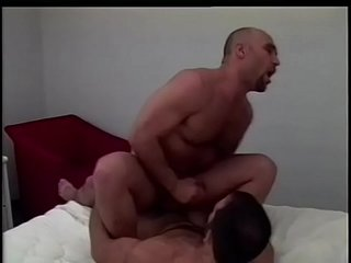 Horny, hairy butch cop bangs the ass of muscular skinhead
