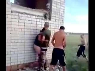 RUSSIAN SOLDIERS FUCK A SLUT OUTDOOR